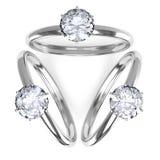 Frau mit Diamantringen Stockbild