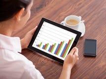Frau mit digitaler Tablette und Handy Stockfoto