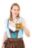 Frau mit Dirndl und Bier bei Oktoberfest Lizenzfreie Stockfotos