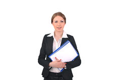 Frau mit Dokumenten in der Hand Stockbild