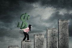 Frau mit Dollarzeichen auf Diagramm Stockfotografie