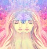 Frau mit drittem Auge lizenzfreie abbildung