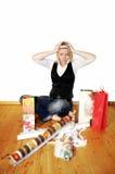 Frau mit Druck auf Weihnachten Stockbild