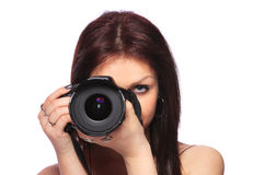 Frau mit DSLR getrennt Stockfotografie