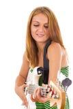 Frau mit E-Gitarre Lizenzfreie Stockfotos