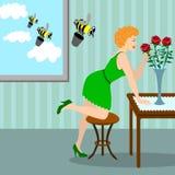 Frau mit einem Blumenstrauß der Rotrose Lizenzfreies Stockbild
