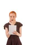 Frau mit einem entsetzten Ausdruck Lizenzfreie Stockbilder
