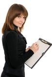 Frau mit einem Faltblatt Stockfotos