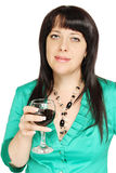 Frau mit einem Glas stockbilder