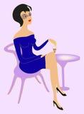 Frau mit einem Glas Wein Stockbild
