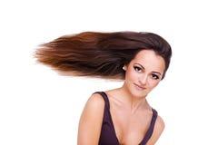 Frau mit einem langen Haar Stockbild