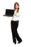 Frau mit einem Laptop Lizenzfreies Stockfoto