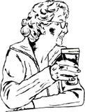 Frau mit einem Pint Stockfoto