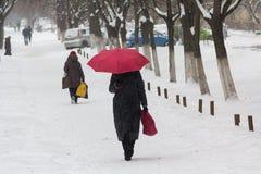 Frau mit einem roten Regenschirm ist auf der Straße im Schneesturm Lizenzfreie Stockfotografie