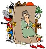 Frau mit einem vollen Wandschrank Lizenzfreie Stockfotografie