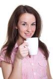 Frau mit einem weißen Cup Stockbild