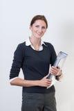 Frau mit einer Datei Lizenzfreie Stockfotos