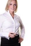 Frau mit einer Feder Stockfoto