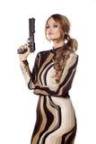 Frau mit einer Gewehr Lizenzfreies Stockbild