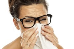 Frau mit einer Grippe Lizenzfreies Stockfoto