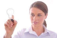 Frau mit einer Markierung Stockbild