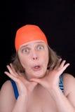 Frau mit einer orange Swimschutzkappe Lizenzfreies Stockbild