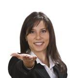 Frau mit einer positiven Fluglage lizenzfreie stockfotos