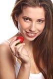 Frau mit einer Schokoladenwüste Stockbilder