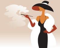 Frau mit einer Zigarette in seiner Hand Lizenzfreie Stockbilder