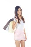 Frau mit Einkaufen-Beuteln Stockfoto