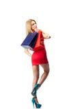Frau mit Einkaufenbeuteln Stockbilder