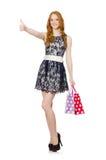 Frau mit Einkaufenbeuteln Stockfotografie
