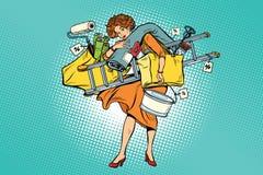 Frau mit Einkaufsreparaturwerkzeugen vektor abbildung