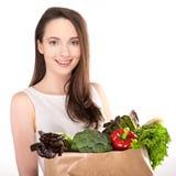 Frau mit Einkaufstasche Stockfotografie