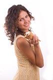 Frau mit Eiscreme Lizenzfreies Stockfoto