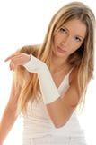Frau mit elastischem wristban Lizenzfreie Stockfotos
