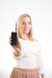 Frau mit elektronischer Zigarette Stockfoto
