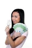 Frau mit energiesparender Lampe Stockbilder