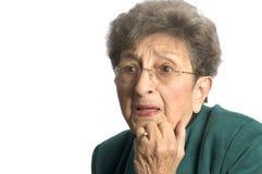 Frau mit entsetztem Blick Stockbilder
