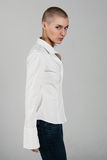 Frau mit extremer Frisur Stockbilder