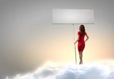 Frau mit Fahne stockbild