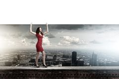 Frau mit Fahne Lizenzfreie Stockbilder