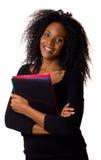 Frau mit Faltblättern Lizenzfreie Stockbilder
