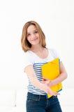 Frau mit Faltblatthändedruck lizenzfreie stockfotografie