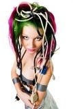 Frau mit Farbenhaardraht stockbilder