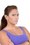 Frau mit Fluglage Stockfoto