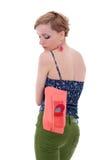 Frau mit Fonds in der rückseitigen Tasche Lizenzfreie Stockfotografie