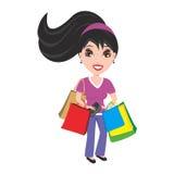 Frau mit Fonds- und Einkaufenbeuteln Stockfotos