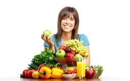 Frau mit Früchten Stockfoto