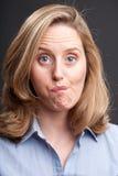 Frau mit fragendem Ausdruck Stockfotografie